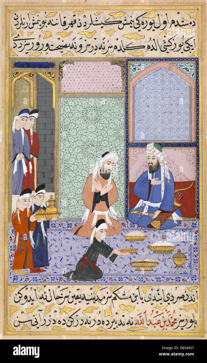 Feasting from Sultan Murad III. From The Siyer-i Nebi (The Life of Muhammad), ca 1594. Artist: Lutfi Abdullah (Lütfi Abdullah) - Stock Image