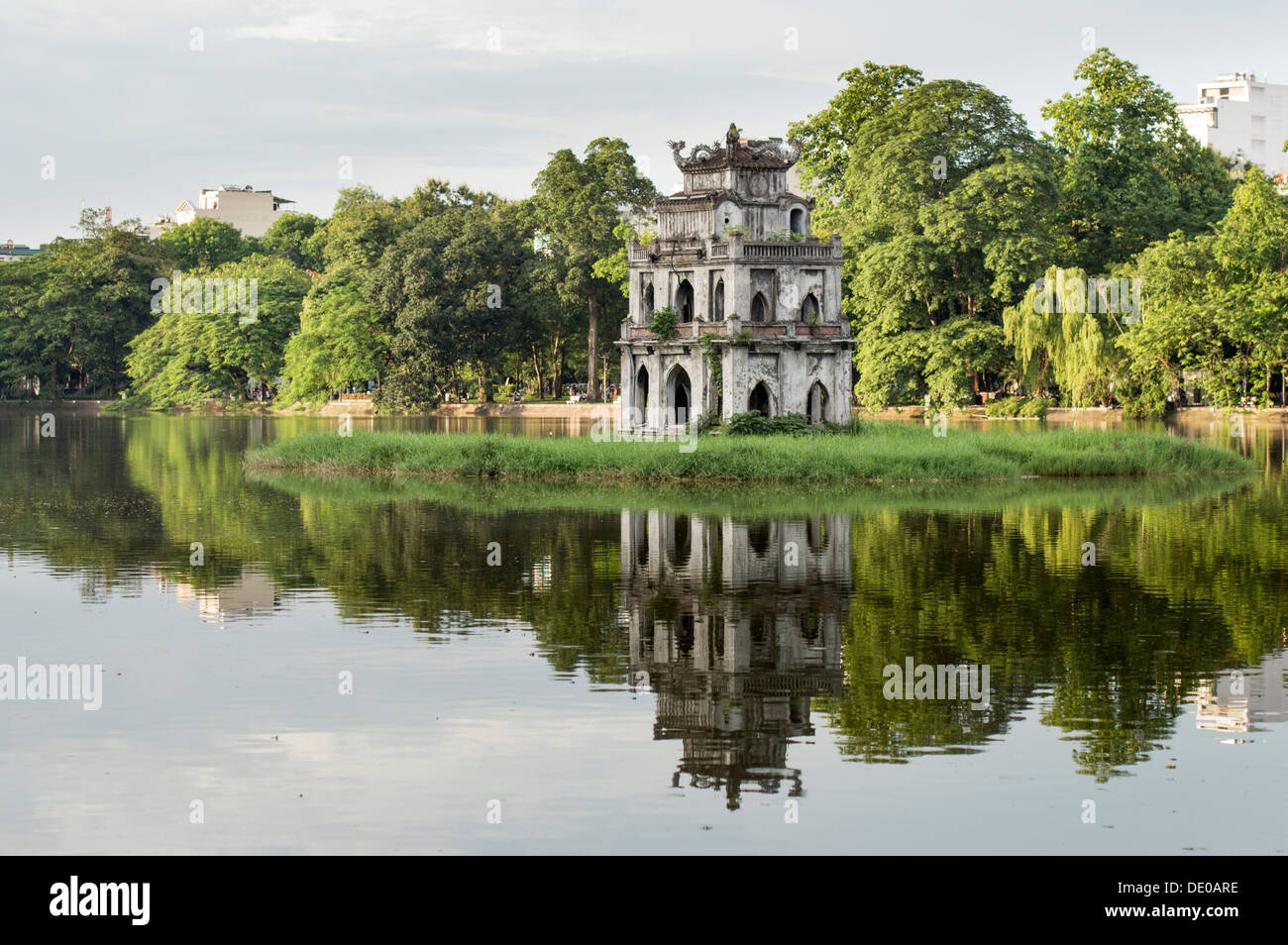 The view of Ngoc Son temple in Hoan Kiem lake, Hanoi, Vietnam - Stock Image