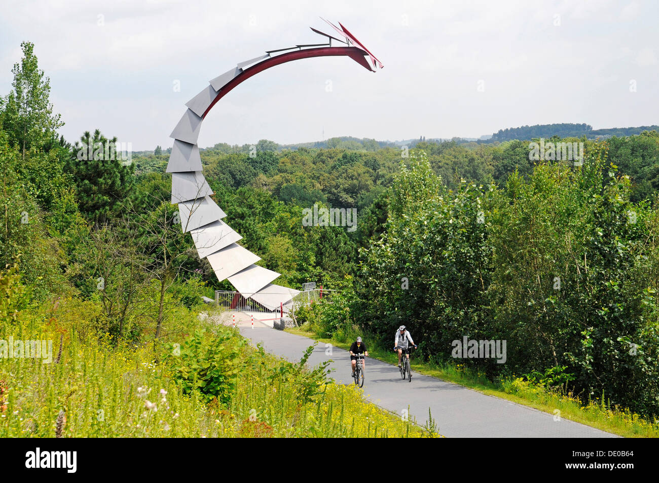 Dragon's bridge, Halde Hoheward, mine heap, landscape park, Herten, Ruhr Area, North Rhine-Westphalia Stock Photo