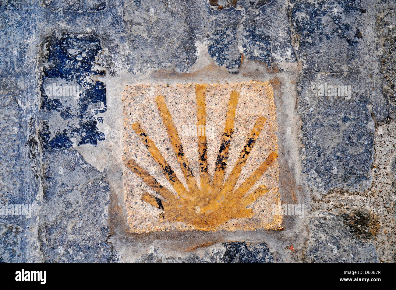 Scallop, Camino de Santiago, Way of St. James, pilgrimage route, marking, pavement, Montblanc, Tarragona province, Catalonia - Stock Image
