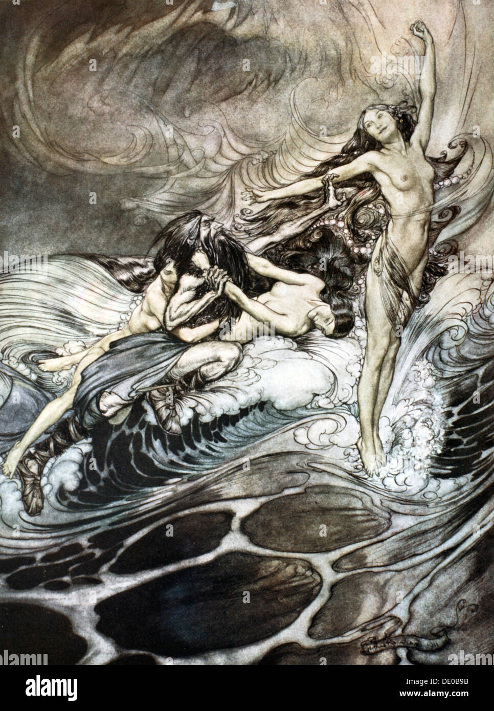 'The Rhine Maidens obtain possession of the ring and bear it off in triumph', 1924.  Artist: Arthur Rackham - Stock Image