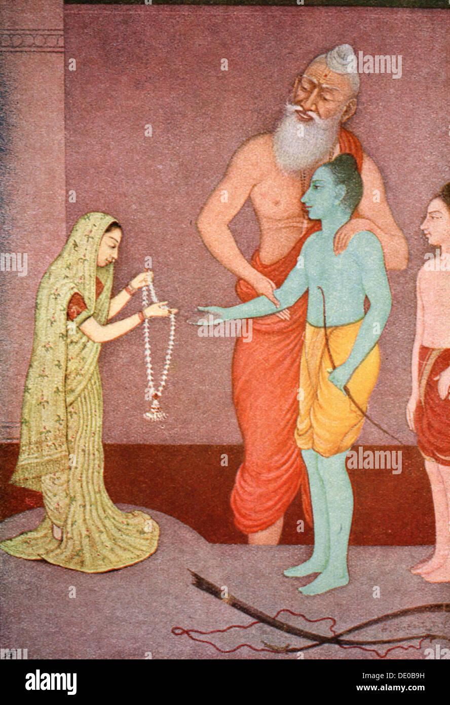 Rama's Marriage, 1913.  Artist: K Venkatappa - Stock Image