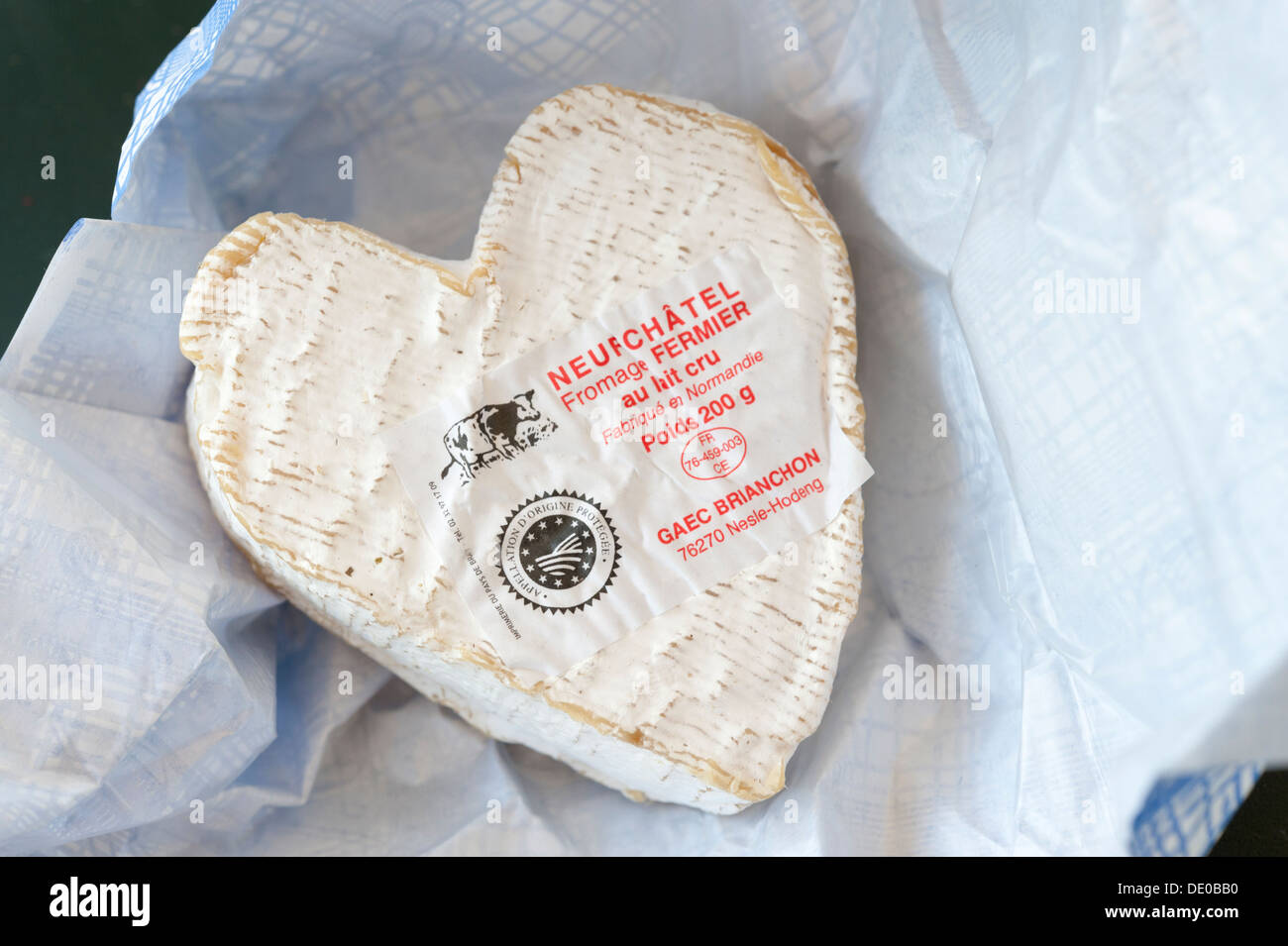 Neufchatel cheese from Normandy France - Stock Image