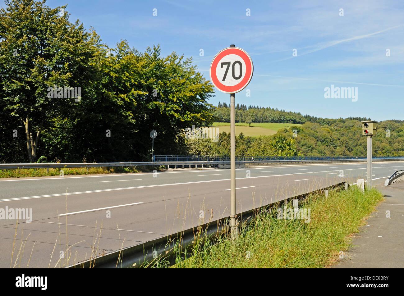 Traffic sign, 70 kmh speed limit, Speed limit enforcement, traffic control, country road, Talbruecke Ronnewinkel bridge, Olpe Stock Photo
