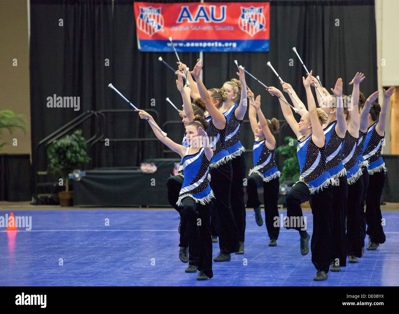 Detroit, Michigan - Baton twirling competition at the AAU Junior Olympic Games. - Stock Image