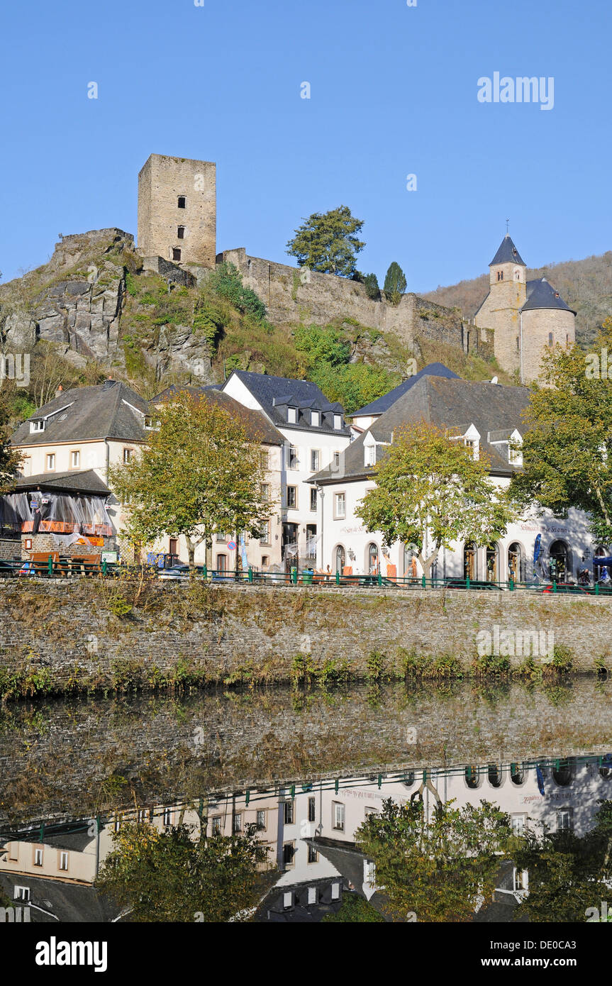 Esch sur Sûre, Sauer or Sûre River, Upper Sûre National Park, Luxembourg, Europe, PublicGround - Stock Image