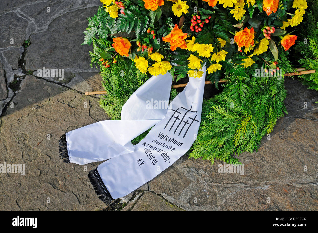 German War Graves Commission, wreath laying, memorial day, war memorial, Beckum, Muensterland region, North Rhine-Westphalia - Stock Image