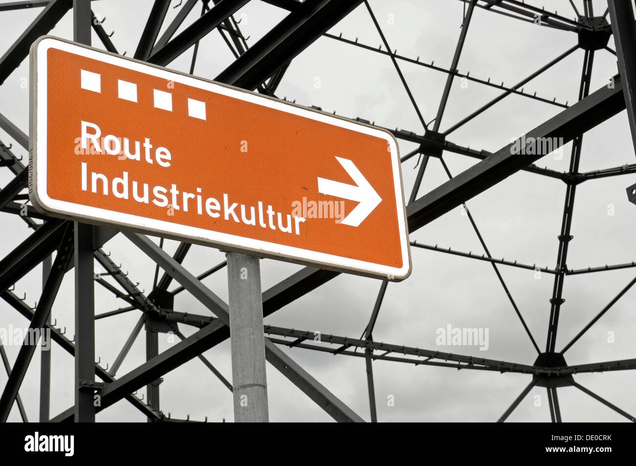 Sign, 'Route Industriekultur', German for Route of Industrial Heritage, former smelting plant, steel works, industrial site - Stock Image