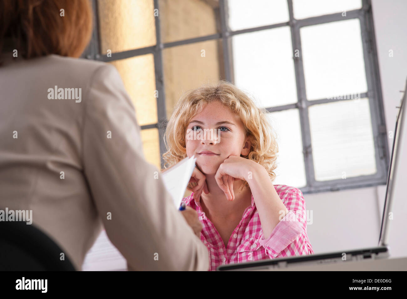 Trainee during an interview with a personnel manager Stock Photo