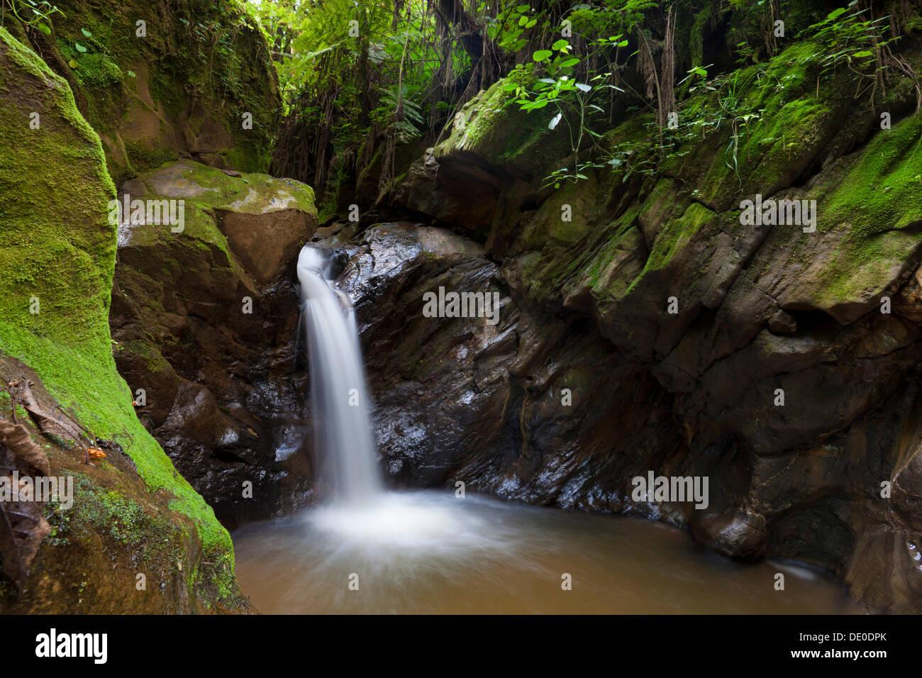 Waterfall at the foot of the Virunga Volcanoes - Stock Image
