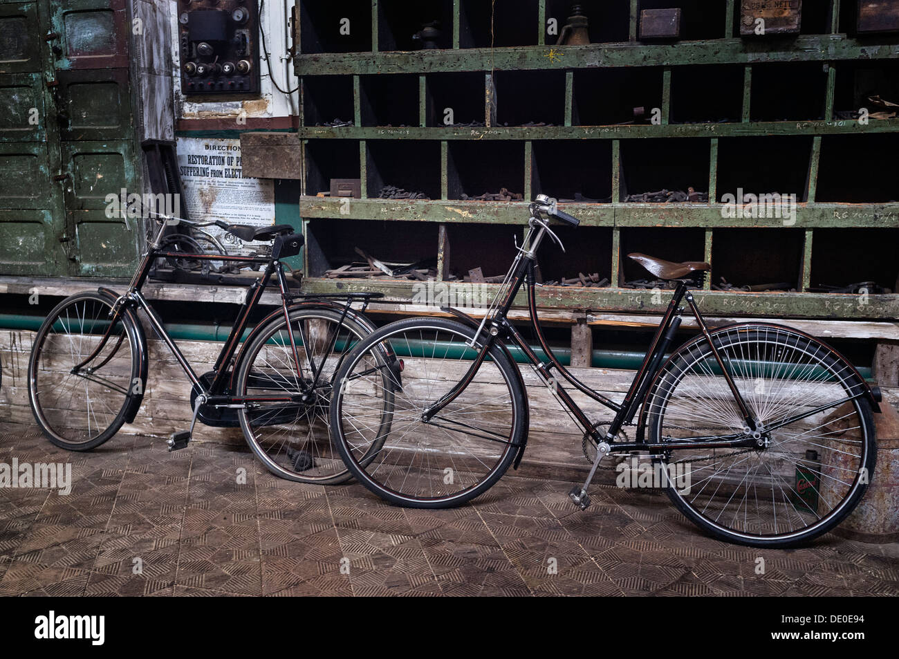 Old fashioned upright bicycles - Stock Image