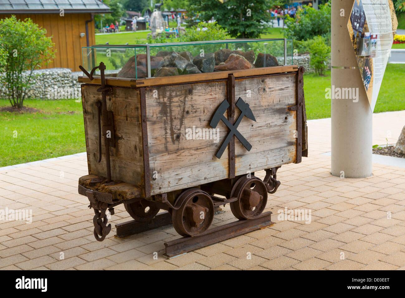 Salt mine wagon with lumps of salt, Koenigssee, Berchtesgaden, Bavaria - Stock Image