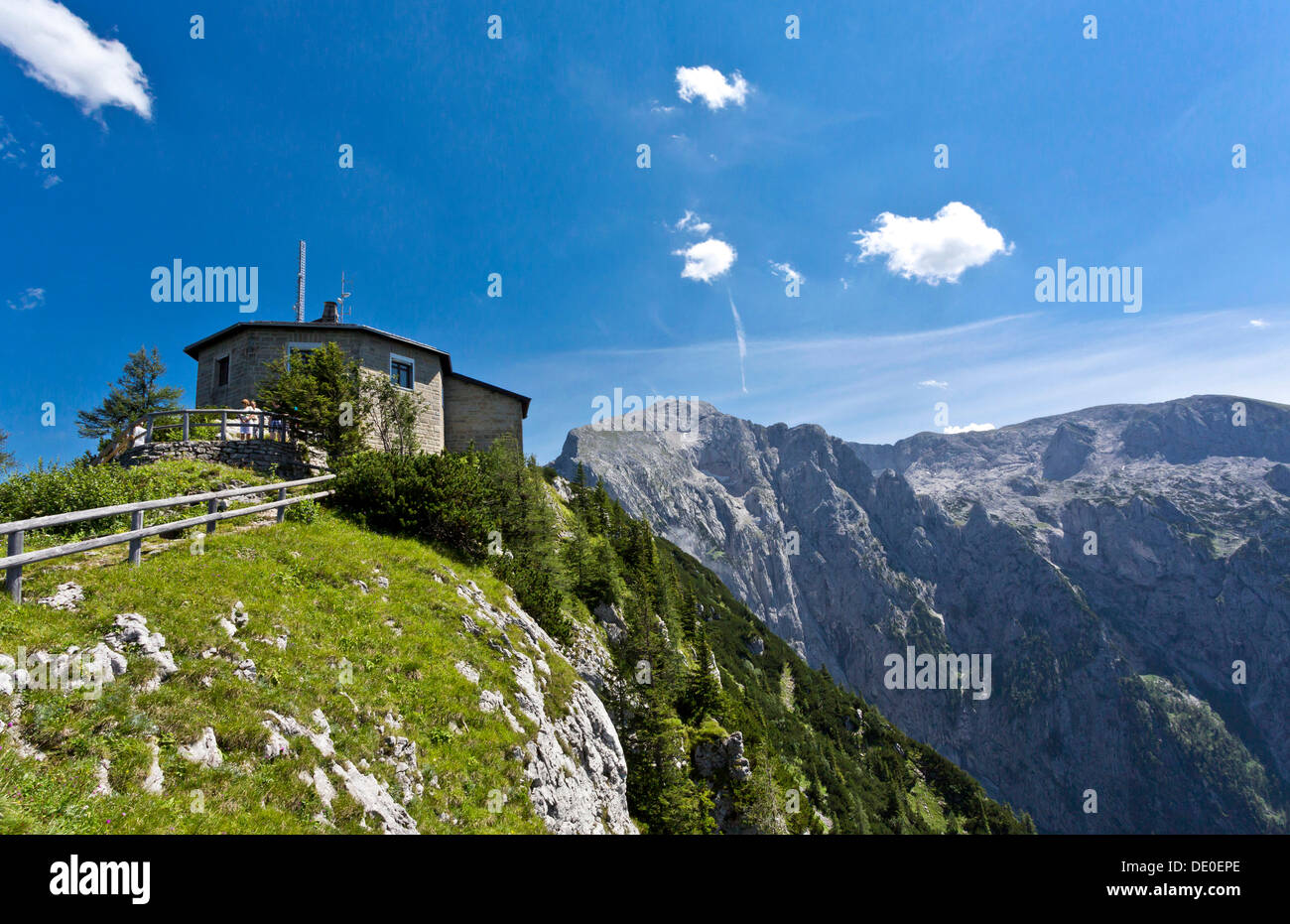 Kehlsteinhaus, known as Eagle's Nest, in front of Hoher Goell Mountain, 2522 m, Berchtesgadener Land, Bavaria Stock Photo