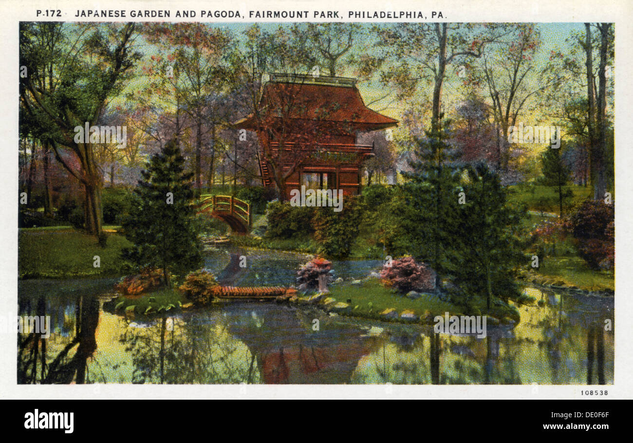 Japanese garden and pagoda, Fairmont Park, Philadelphia Stock Photo ...