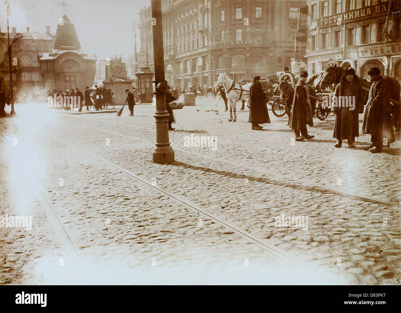 Okhotny Ryad (Hunting Row), Moscow, Russia, 16 March 1911. - Stock Image