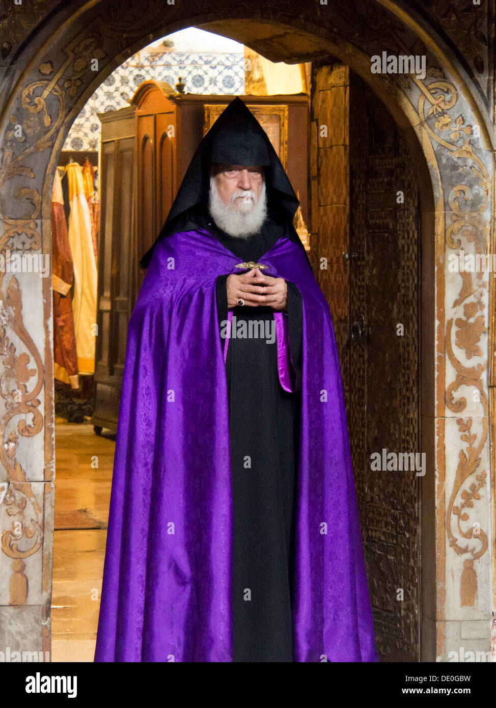 An Armenian Priest In A Purple Robe At The Armenian Cathedral Of St Stock Photo Alamy