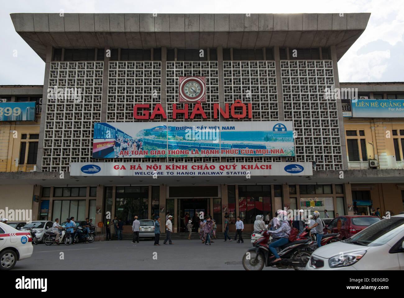 Hanoi city railway station (Phòng vé Ga Hà Nội ) , Hanoi, Vietnam - Stock Image