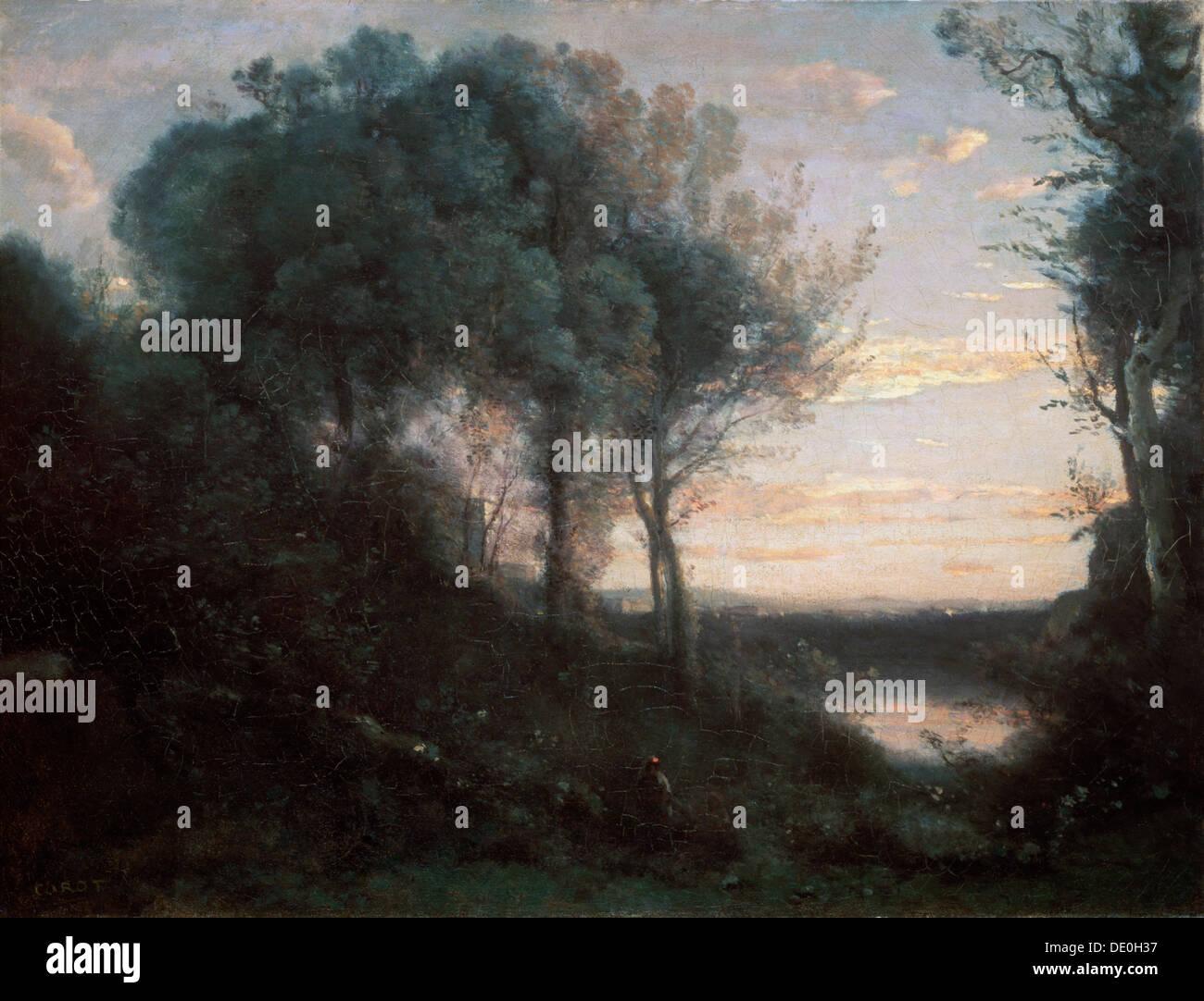 'Evening', 1850-1860s.  Artist: Jean-Baptiste-Camille Corot - Stock Image