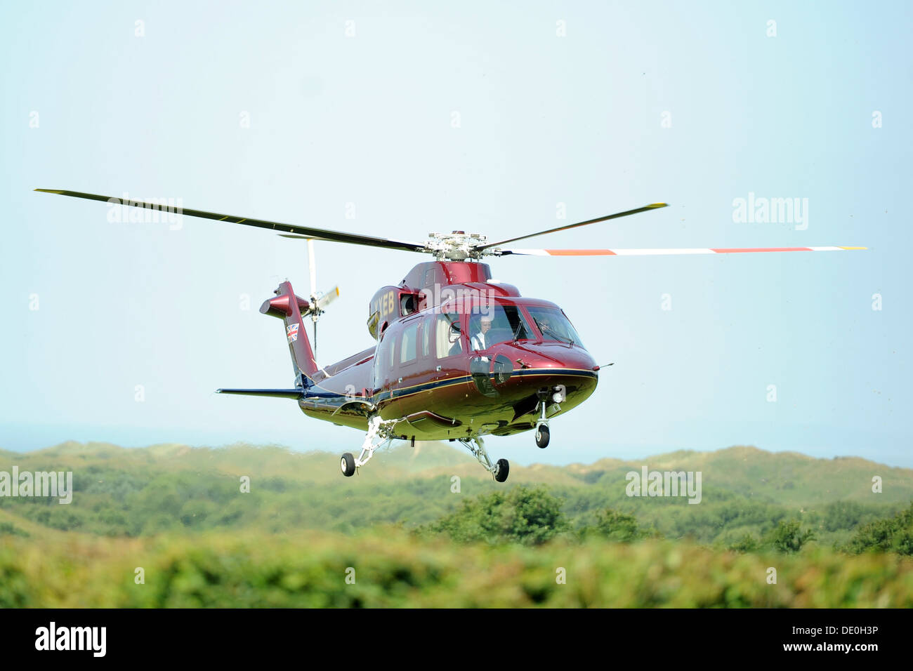 The royal family's helicopter also known as the Queen's Helicopter Flight (TQHF) G-XXEA Stock Photo
