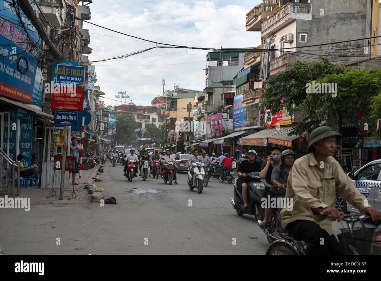 Hanoi street view of motorcycle, Hanoi, Vietnam - Stock Image