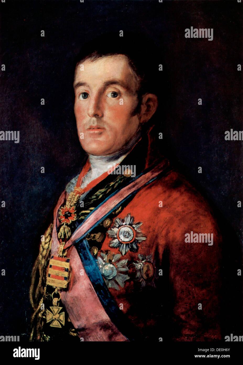 'Portrait of Field Marshal Arthur Wellesley, 1st Duke of Wellington', c1814.  Artist: Francisco Goya - Stock Image