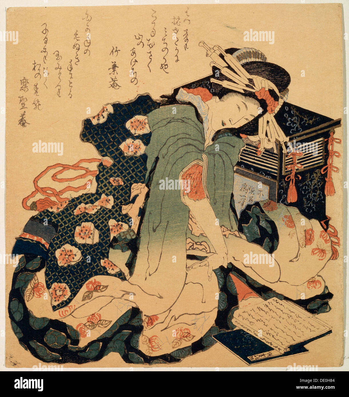 'Reading', c1822.  Artist: Hokusai - Stock Image