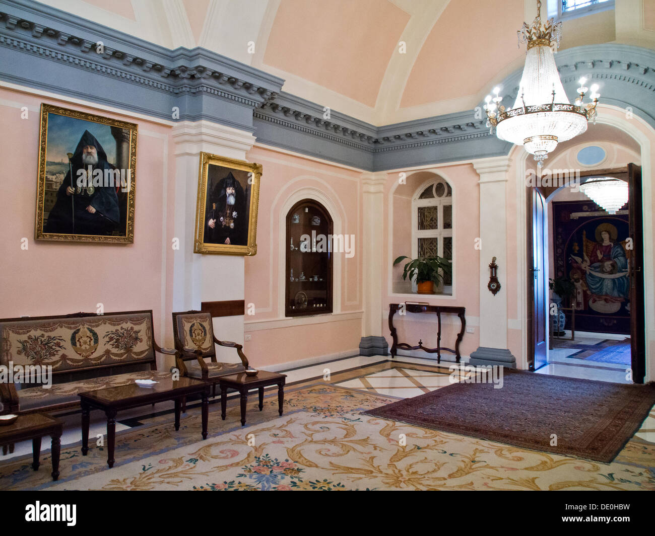 The main hall at the residence of the Armenian Patriarch at the Cathedral of St. James in Jerusalem. Although legislation describes Israel as a 'Jewish' state it also provides for freedom of worship which is respected in practice. - Stock Image