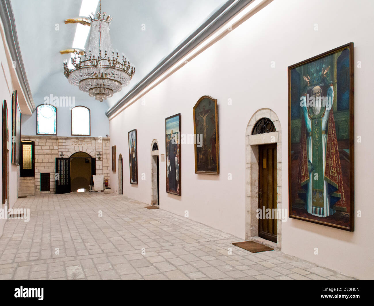 The hall leading to the residence of the Armenian Patriarch at the Cathedral of St. James in Jerusalem. Although legislation describes Israel as a 'Jewish' state it also provides for freedom of worship which is respected in practice. - Stock Image