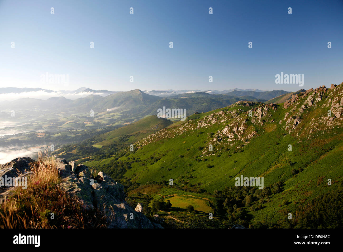 Landscape at La Rhune Mountain, Basque Country, Pyrenees, Aquitaine region, department of Pyrénées-Atlantiques, France, Europe - Stock Image