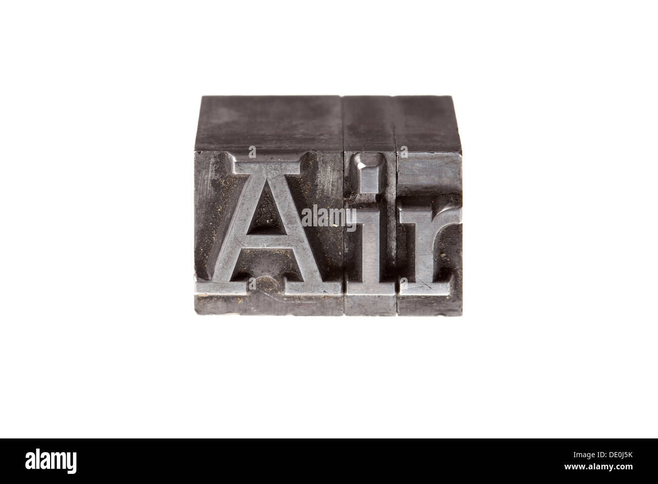 """Old lead letters forming the word """"Air"""" - Stock Image"""