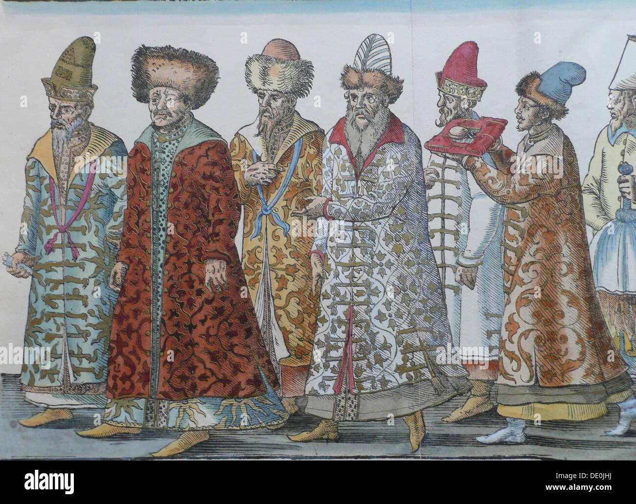 Portrait of Moscow Monarchs Ivan III, Vasili III Ivanovich, Ivan IV of Russia and entourage. Artist: Anonymous - Stock Image