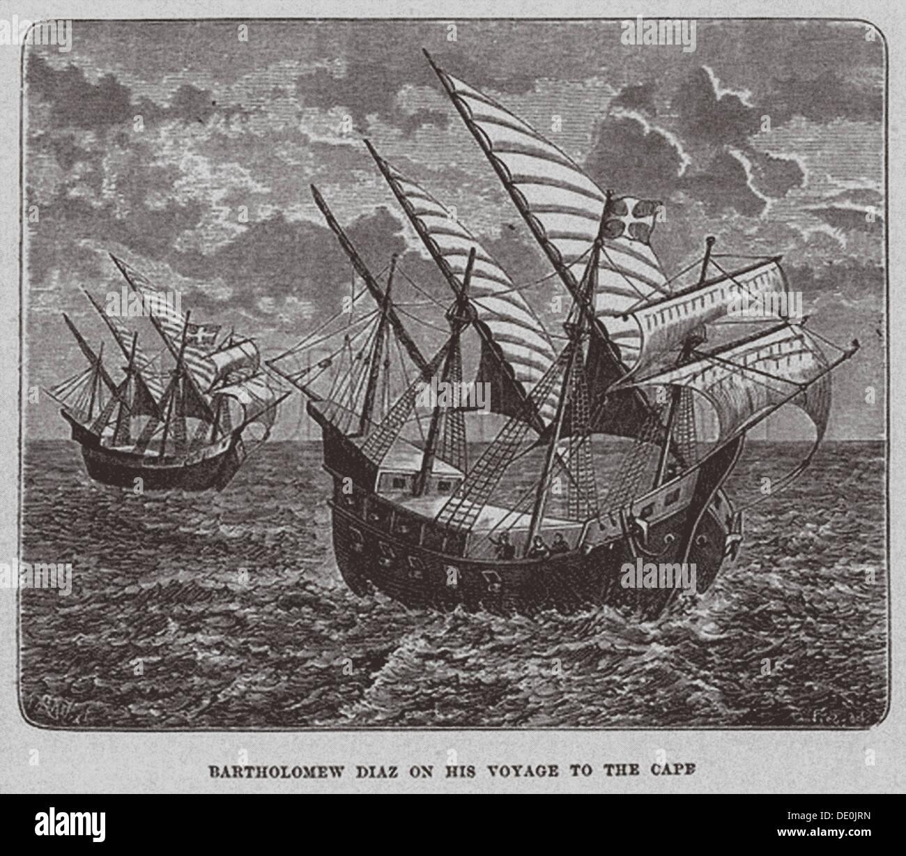Bartholomew Diaz on his voyage to South Africa, 1878. Artist: Anonymous - Stock Image