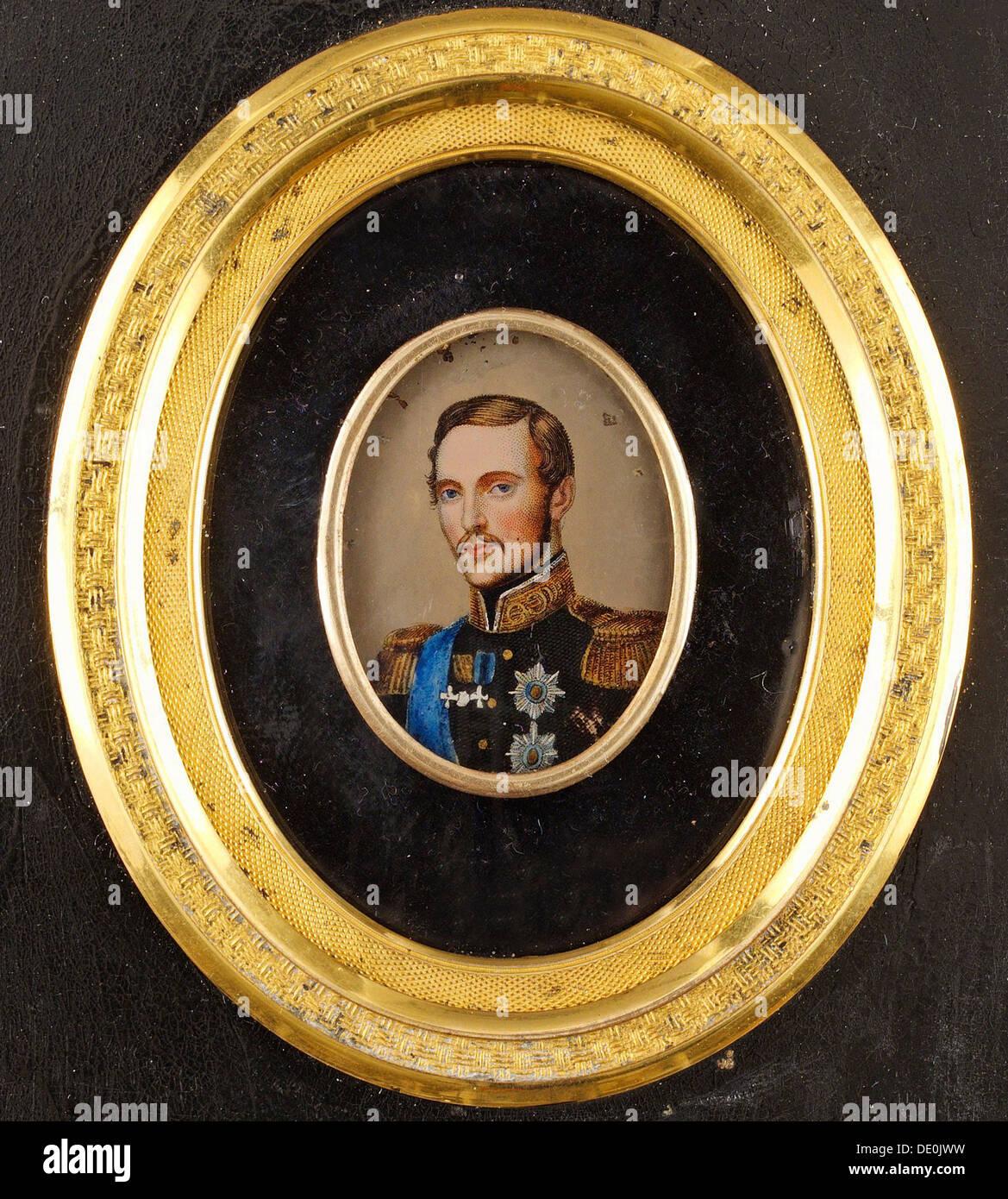 Portrait of Emperor Alexander II (1818-1881), 1840s. Artist: Anonymous - Stock Image