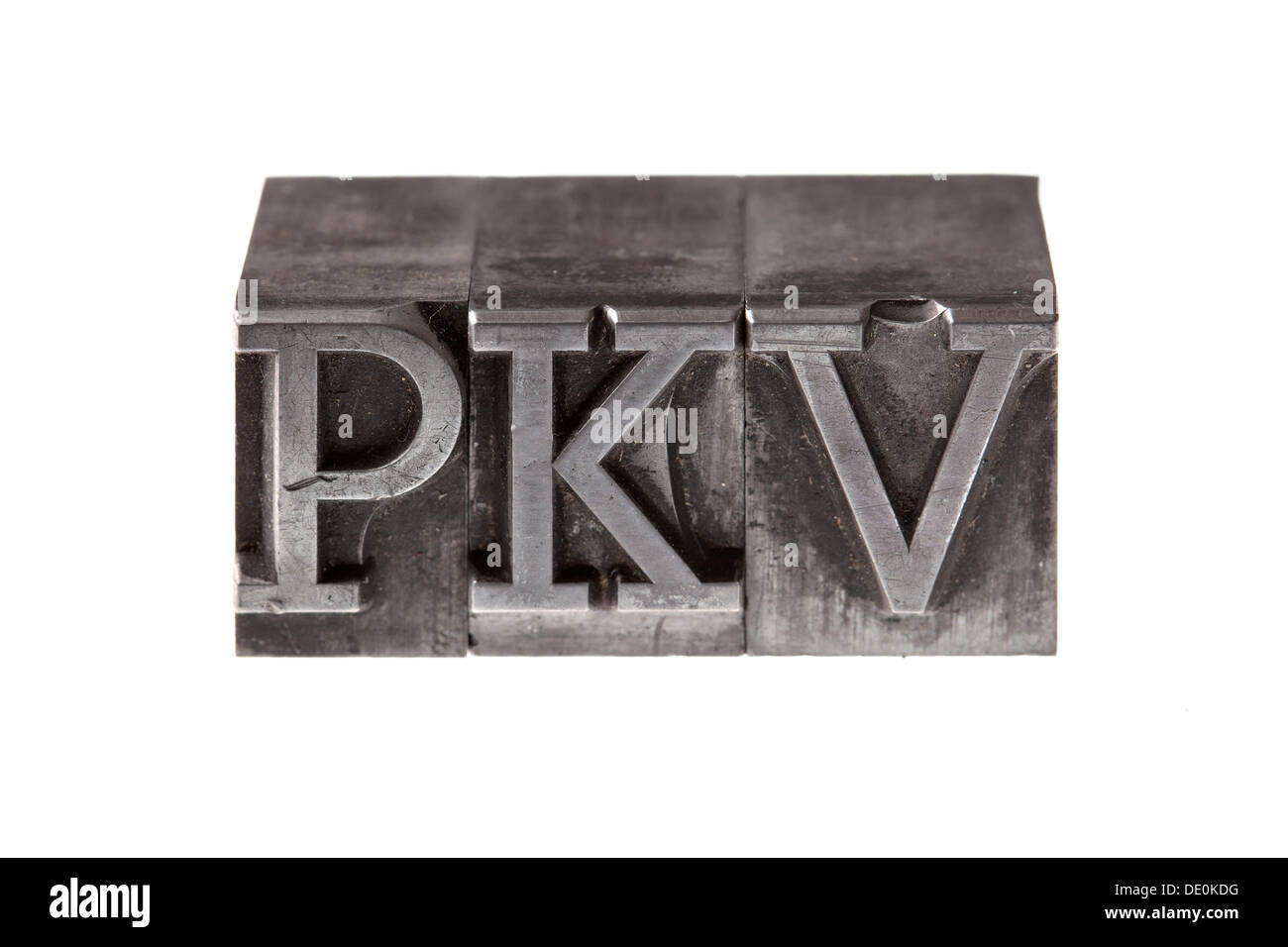 Old lead letters forming the acronym 'PKV' - Stock Image