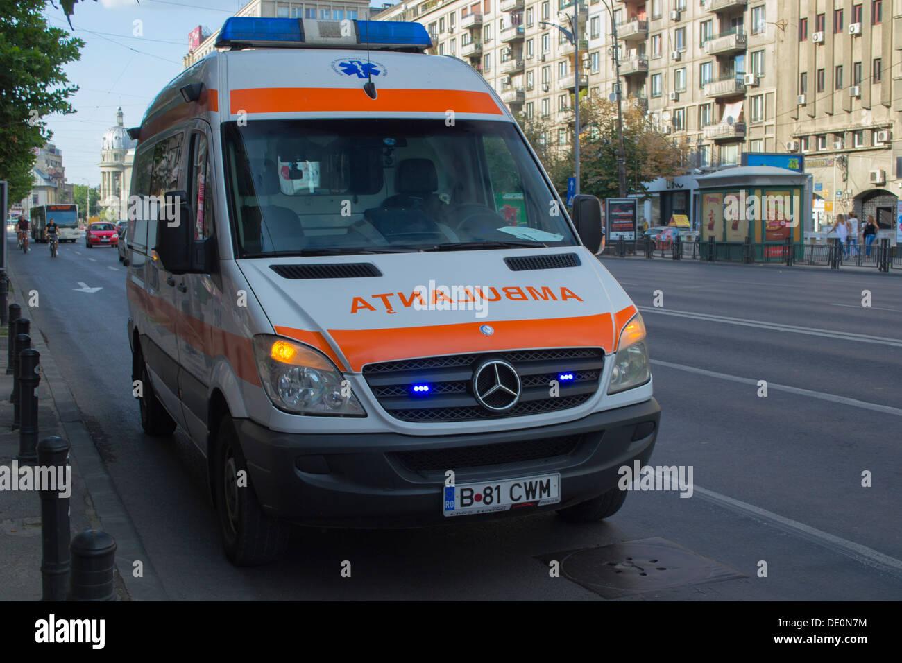 Romanian Mercedes Sprinter ambulance - Stock Image