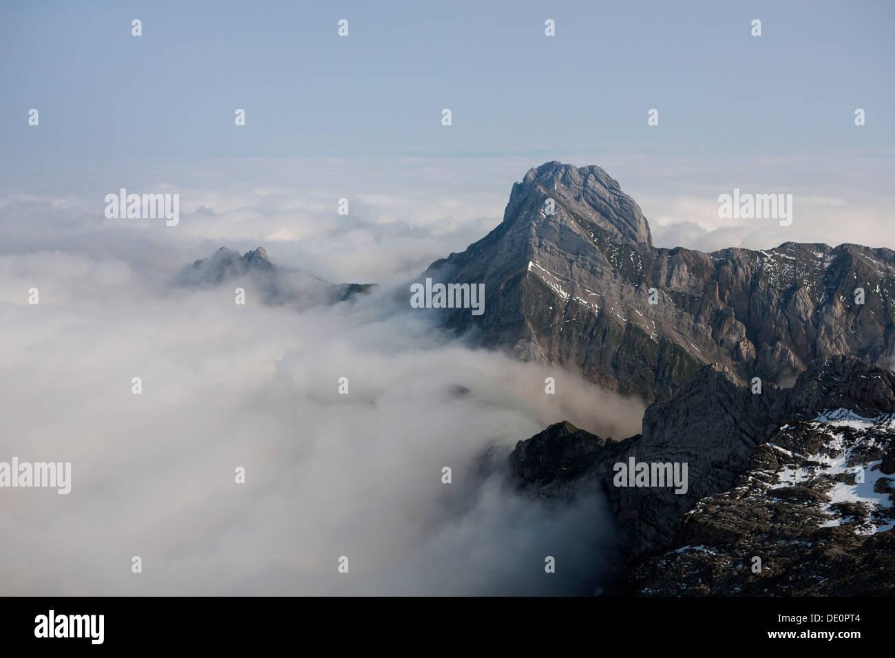 Low stratus as seen from Saentis mountain, view of Altmann mountain, Alpstein mountain group, Appenzell, Switzerland, Stock Photo