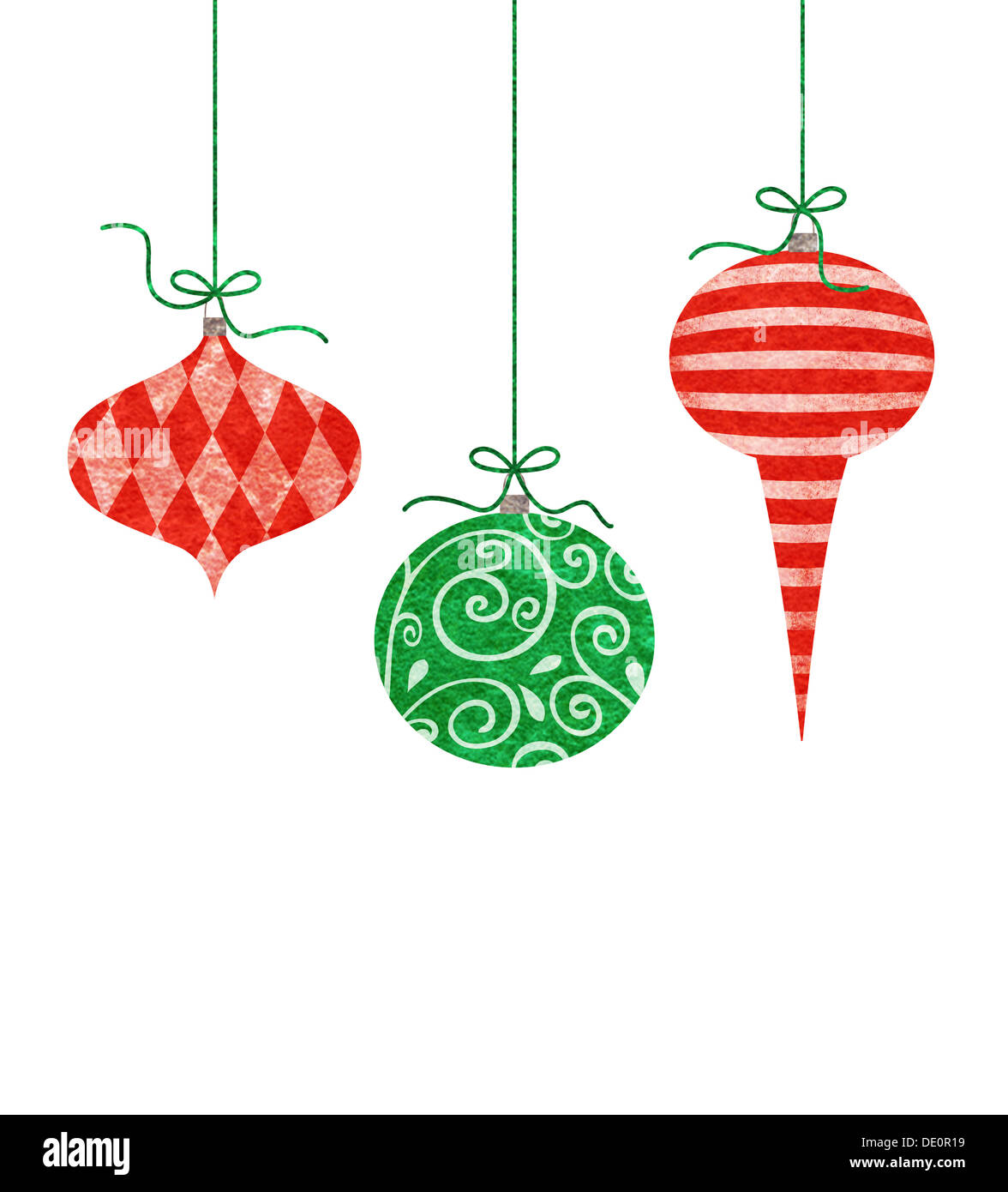 Whimsical Christmas Ornaments.Three Whimsical Christmas Ornaments Stock Photo 60254357