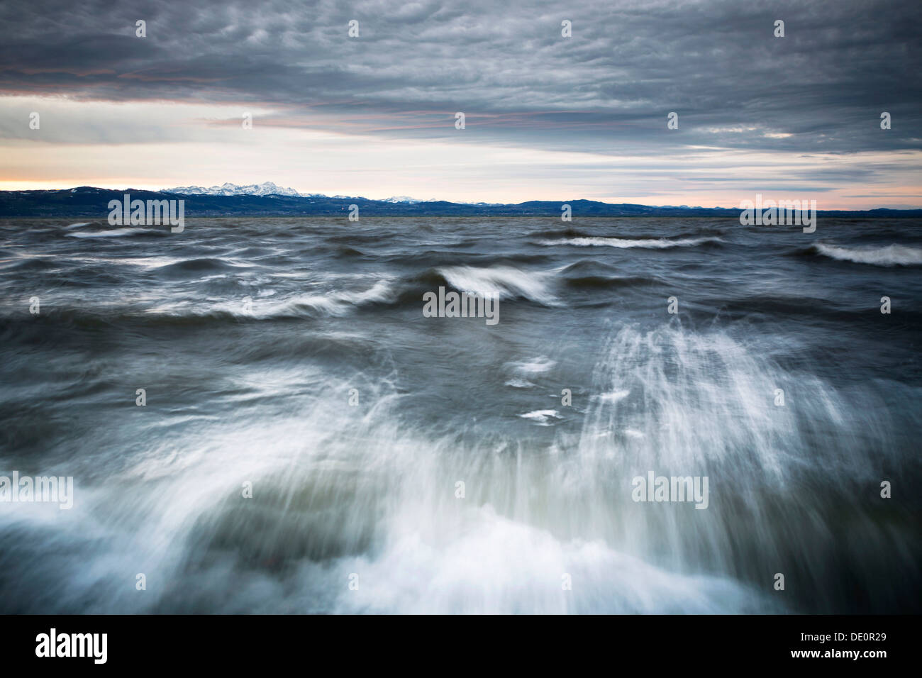 Winter storm on Lake Constance with a view towards the Alps - Stock Image