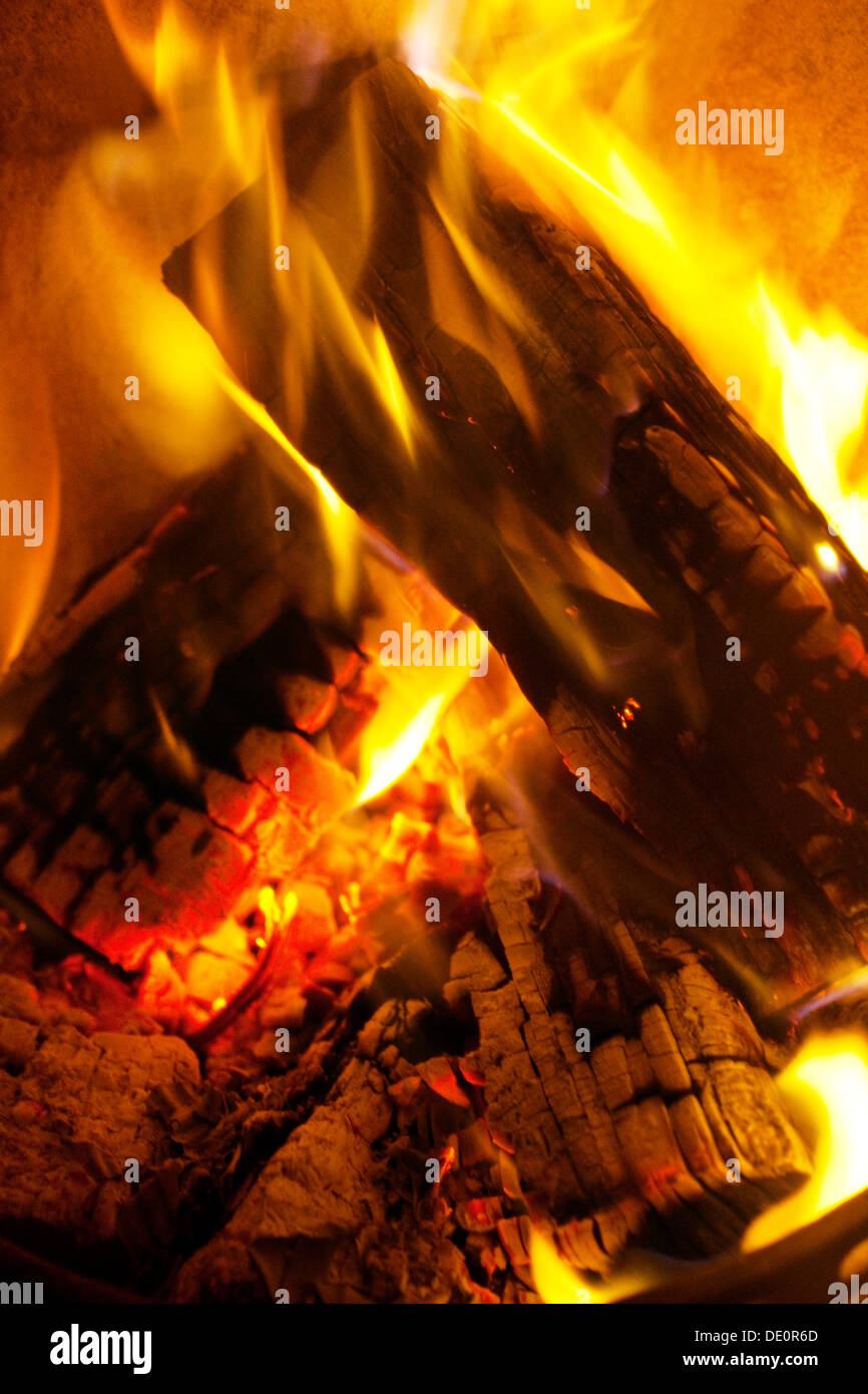Fire in a fireplace - Stock Image