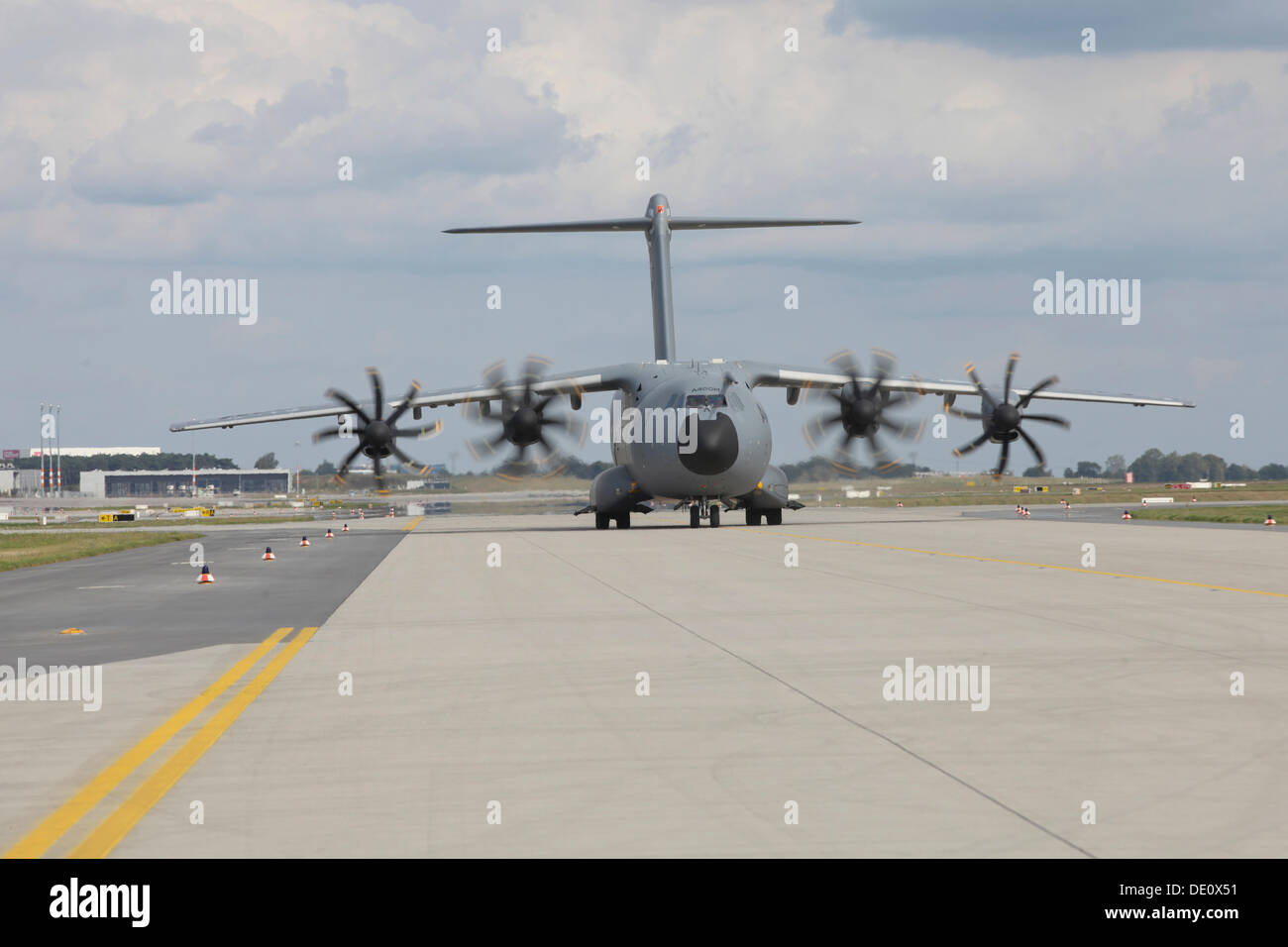 Airbus Type A400M military cargo plane landing at Berlin-Schoenefeld Airport, International Aviation and Aerospace Exhibition - Stock Image