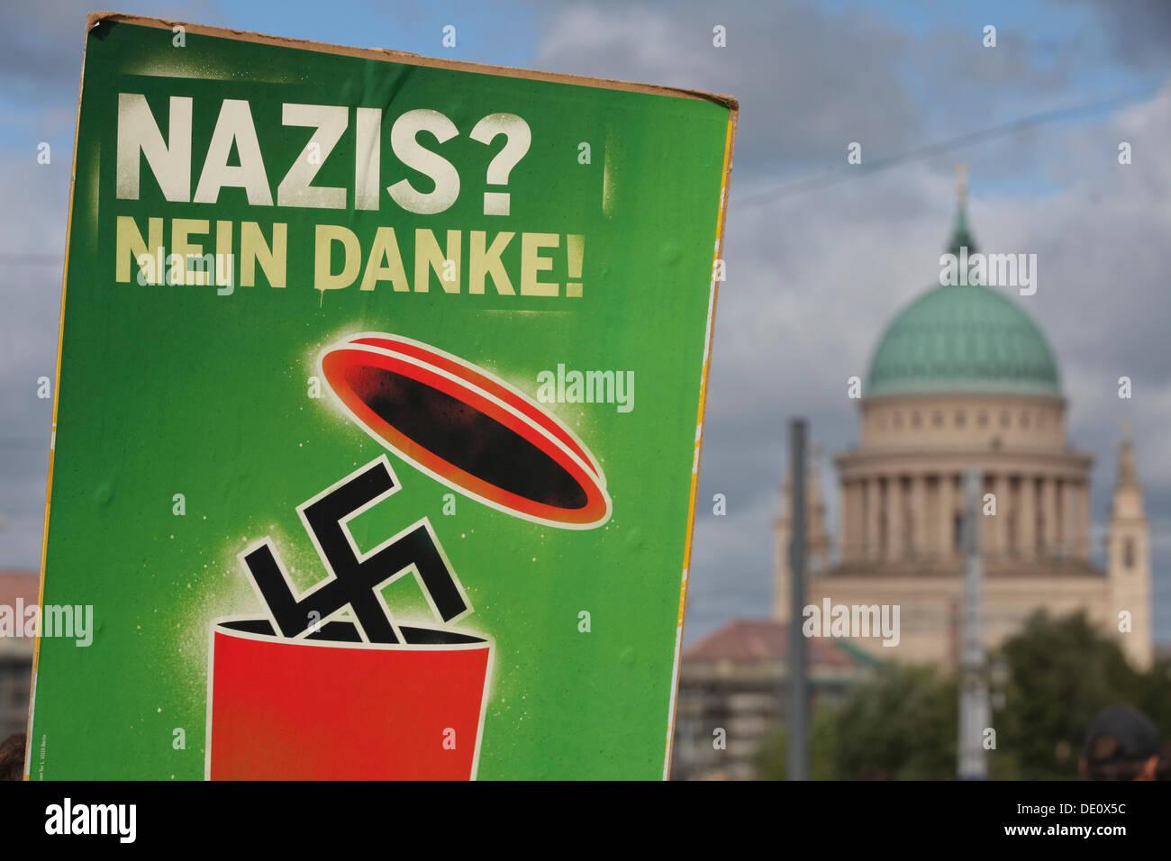 Protest against a neo-Nazi march, Potsdam, Brandenburg Stock Photo