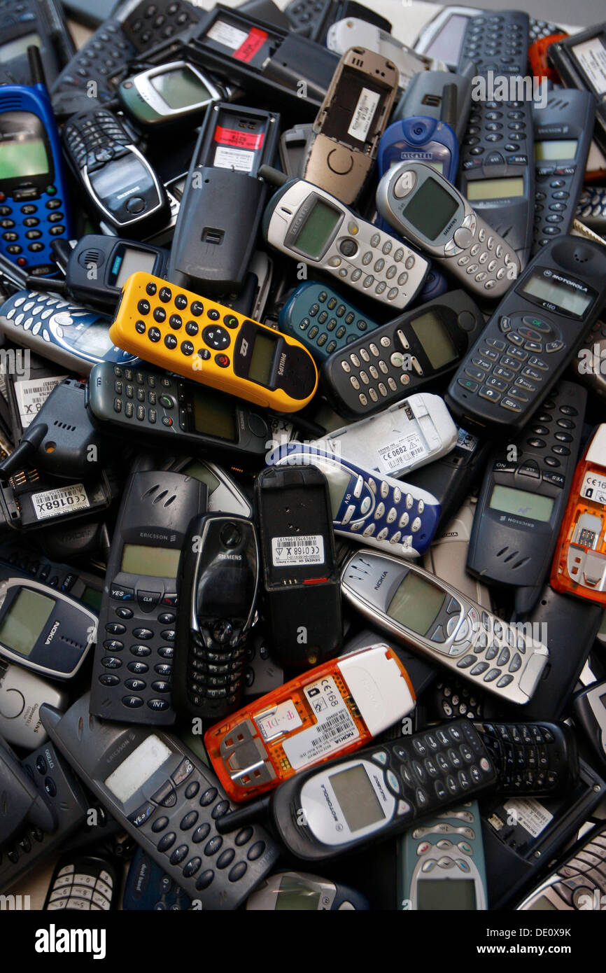 Pile Of Cell Phones : Old mobile phones stock photos