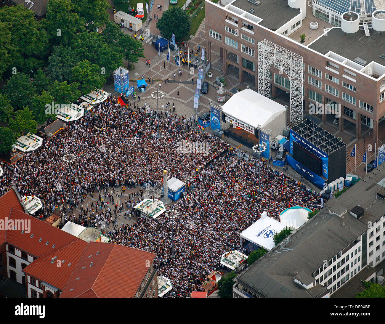 Aerial picture, public screening, Football World Cup 2010, the match Germany vs Australia 4-0, Friedensplatz square, Stock Photo