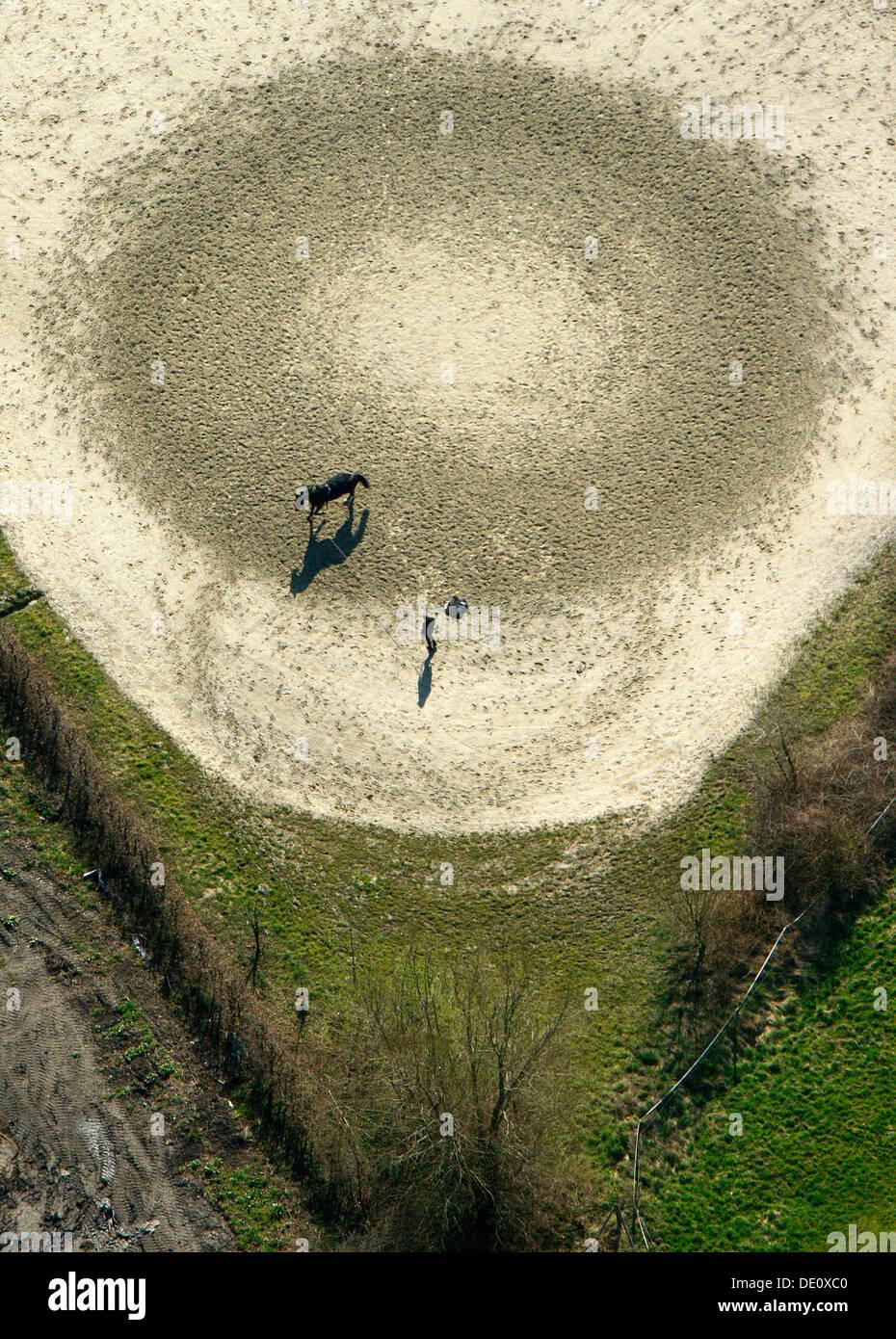 Aerial view, equestrian facility, vaulting, Kamen, Ruhrgebiet region, North Rhine-Westphalia - Stock Image