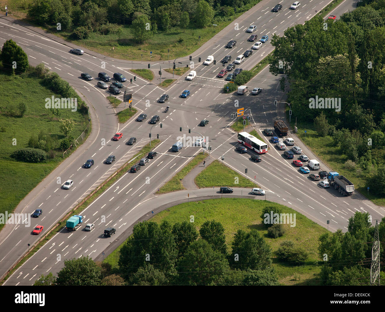 Aerial view, crossroads, Prosperstrasse street, Arensbergstrasse street, B224 federal highway, Bottrop-Boy, Ruhr area - Stock Image