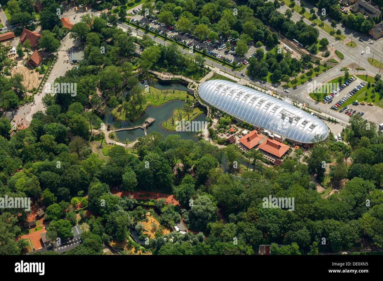Aerial view, ZOOM Erlebniswelt world of experience, Gelsenkirchen Zoo, Arizona world of experience, Gelsenkirchen, Ruhr area - Stock Image
