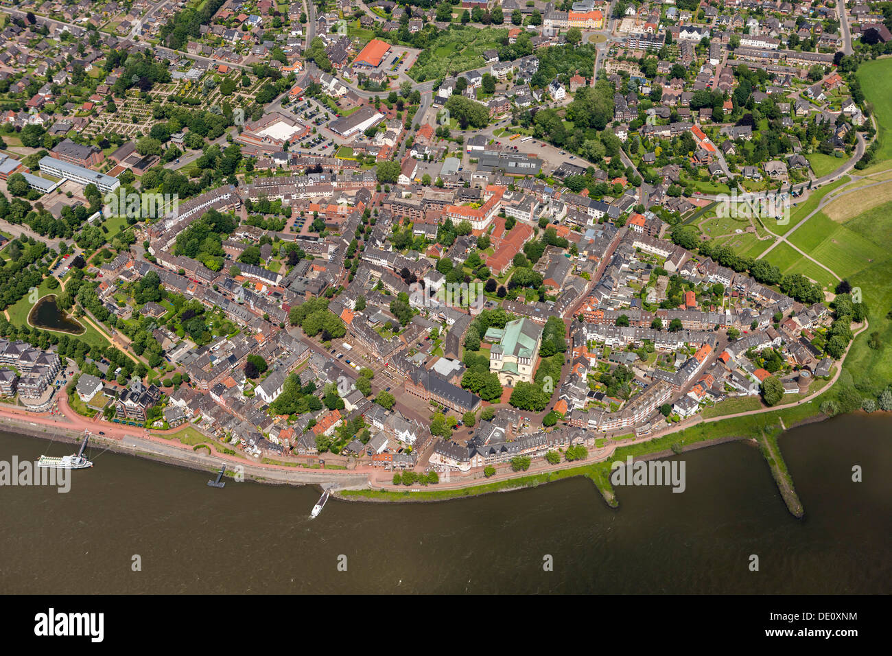 Aerial view, town of Rees, Lower Rhine area, North Rhine-Westphalia - Stock Image