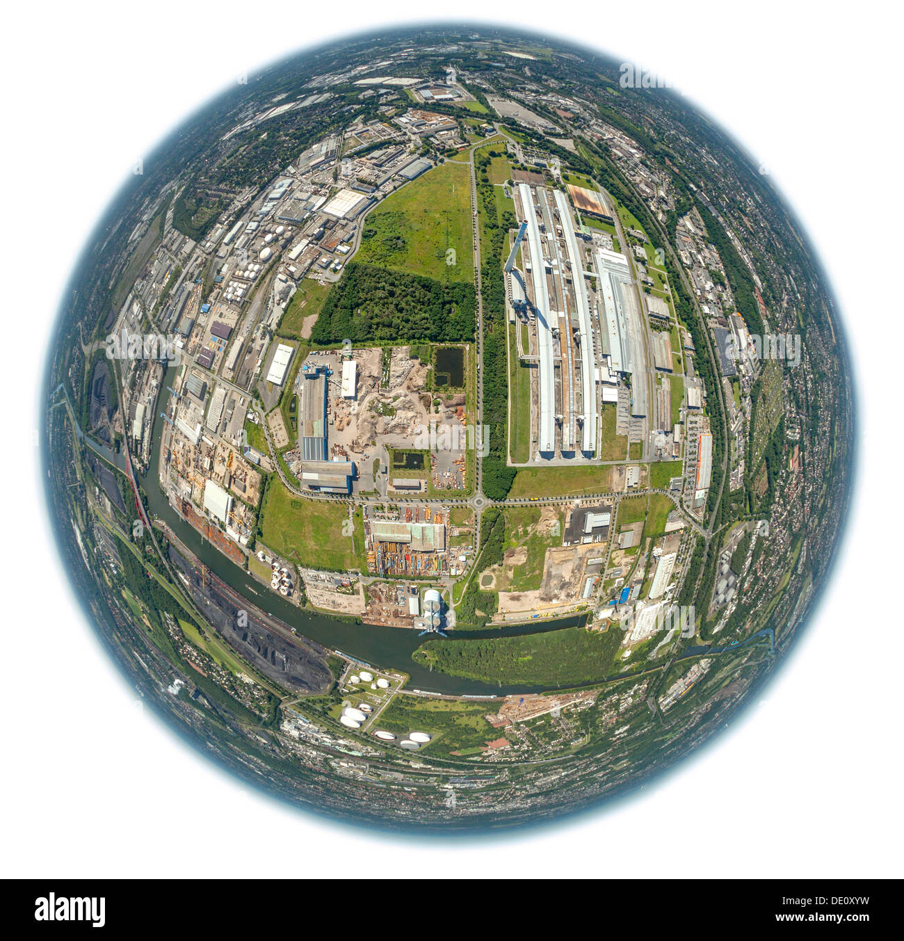 Aerial view, aluminium smelting plant, Econova industrial estate, Bergeborbeck, Essen, Ruhr area, North Rhine-Westphalia - Stock Image
