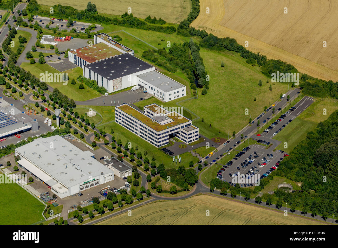 Aerial view, LR Health & Beauty Systems GmbH, Olfetal industrial estate, Ahlen, Ruhr area, North Rhine-Westphalia - Stock Image