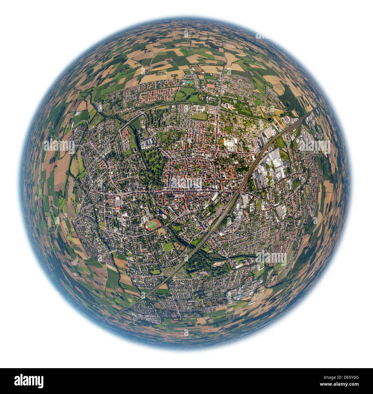 Aerial view, fisheye shot, city centre Ahlen, Ruhr area, North Rhine-Westphalia - Stock Image